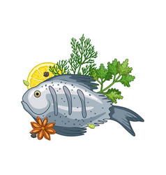 fish dish with spices vector image