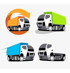 Isolated colorful truck logo set Vehicles vector image