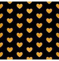 Seamless pattern of golden hearts vector image
