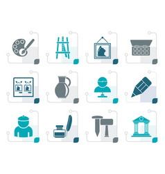 stylized fine art objects icons vector image