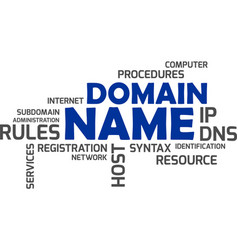 word cloud - domain name vector image vector image