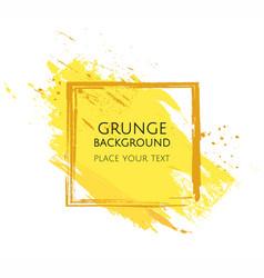 Yellow hand paint artistic dry brush stroke grunge vector