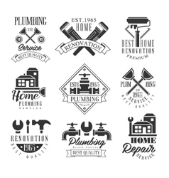 Plumbing And Repairing Service Black And White vector image vector image