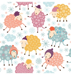 seamless background with cute sheeps vector image vector image