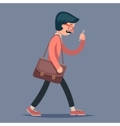 Vintage Male Geek Hipster Engineer Character Walk vector image vector image