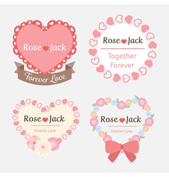 cute pastel romantic wedding heart shape label vector image