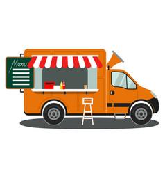 orange food truck side view menu coffee white vector image