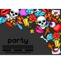 Party invitation with retro tattoo symbols vector image vector image