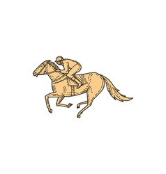 Jockey Horse Racing Side Mono Line vector image vector image
