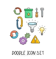 Set of Universal Doodle Icons Bright Colors and vector image vector image