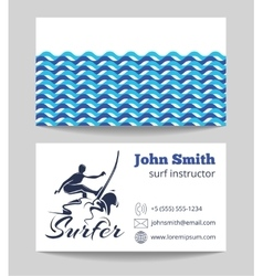 Surf business card template vector image vector image