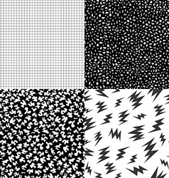 80s retro memphis pattern set with geometric shape vector image