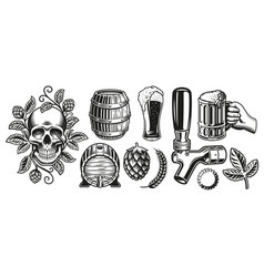 a set black and white for beer theme vector image