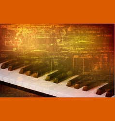 abstract grunge background with piano keys vector image