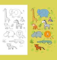 african animals cute cartoon lion and tiger vector image