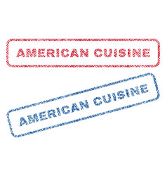 American cuisine textile stamps vector