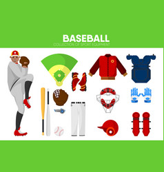 baseball sport equipment bat-and-ball game player vector image