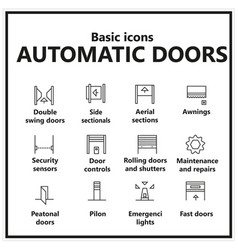 Basic icons automatic doors windows awnings and vector