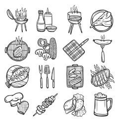 Bbq Grill Icons Set vector