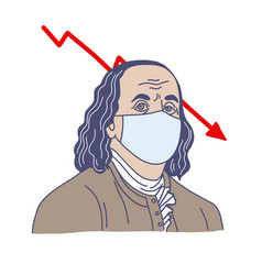 ben franklin in medical mask hand drawn vector image