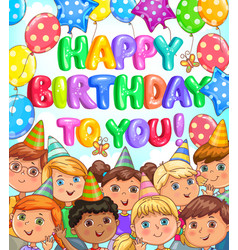 birthday bright banner with balloons and funny vector image