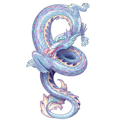 Blue serpentine dragon vector