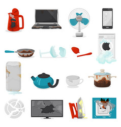 broken appliance damaged homeappliances or vector image