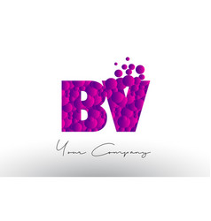 Bv b v dots letter logo with purple bubbles vector