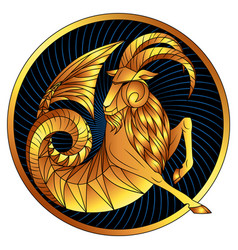 Capricorn golden zodiac sign gilt horoscope symbol vector
