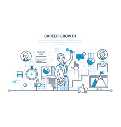 Career growth progress in education qualities vector