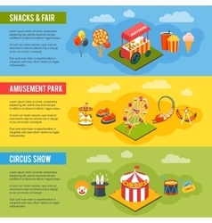 Carnival circus concept flat banners set vector image