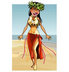 cartoon cheerful woman dances on the seashore vector image