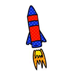 Cartoon doodle of a space rocket vector