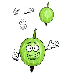 Cartoon green striped gooseberry fruit vector