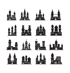 Castle silhouettes medieval fortress ancient vector