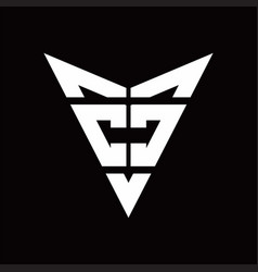 cc logo monogram with back drop shape logo design vector image