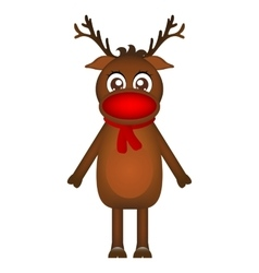 Cheerful cartoon reindeer on a white background vector