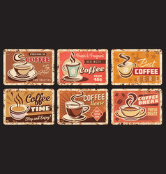 coffee house shop and roastery rusty metal plate vector image