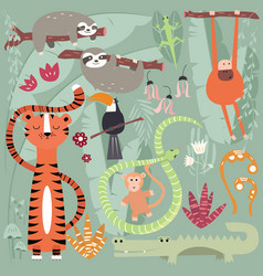 Collection cute rain forest animals tiger vector
