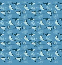 cool sharks and seaweeds seamless pattern vector image