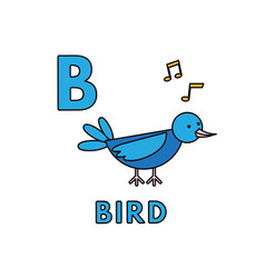 cute cartoon animals alphabet bird vector image