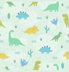 cute cartoon dinosaurs vector image