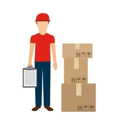 Delivery man and package icon Delivery and vector image