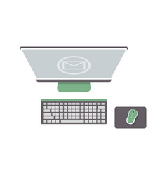 Desktop computer isolated icon in flat design vector
