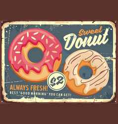 Donuts retro commercial sign design vector