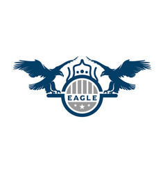 eagle shield logo design template vector image