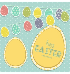 Easter vintage background with egg bunting vector