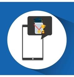 Education online smartphone app trophy certificate vector