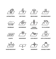 Fabric textile properties thin line icons vector image