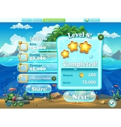 Fish world - example window level completion vector